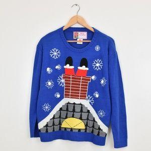 Light Up Santa Ugly Christmas Sweater Size Large